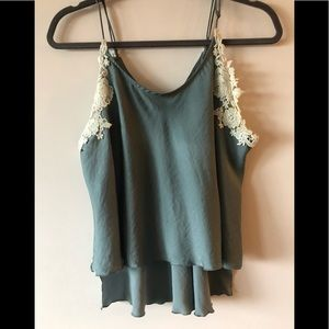Free People Teal Satin and Lace Tank